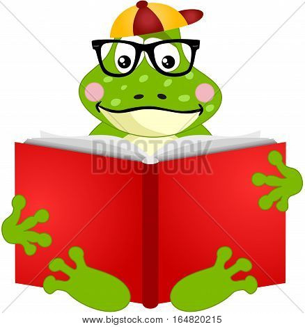 Scalable vectorial image representing a cute frog reading a book, isolated on white.