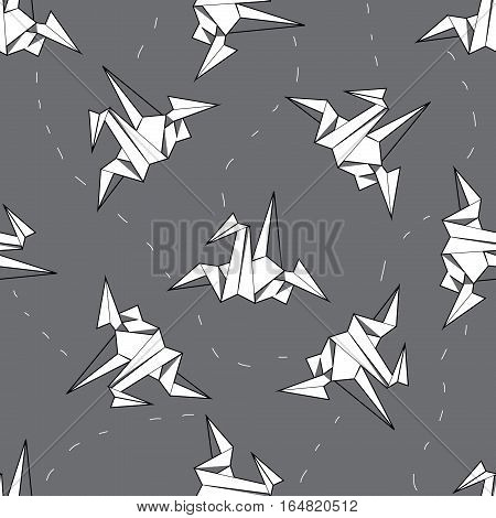 nice seamless background white origami crane on a gray background