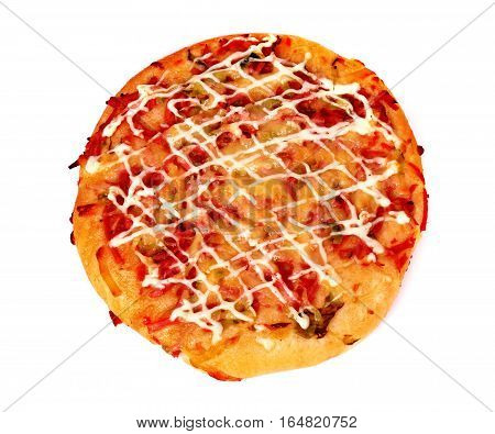 Mini pizza isolated over clear white background