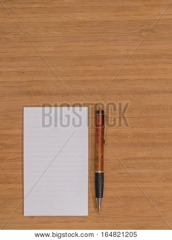 Bamboo Desk White Pad Ballpoint Pen Copy Space