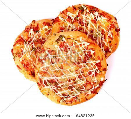 Mini pizzas isolated over clear white background