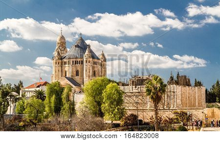 Exterior view of Dormition Abbey from the wall of the Old City of Jerusalem, Israel