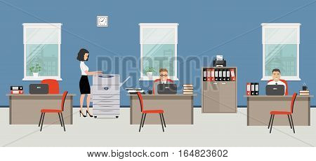 Office room in a blue color. The young woman and men are employees at work. There is beige furniture, red chairs, a copy machine on a window background in the picture. Vector flat illustration