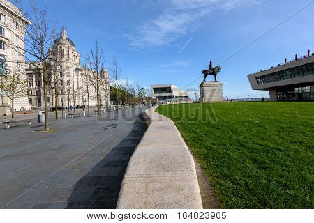 Liverpool Waterfront with Equestrian statue of King Edward VII and port of Liverpool building