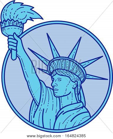 Mono line style illustration of statue of liberty holding up a flaming torch viewed from the side set inside circle on isolated background.