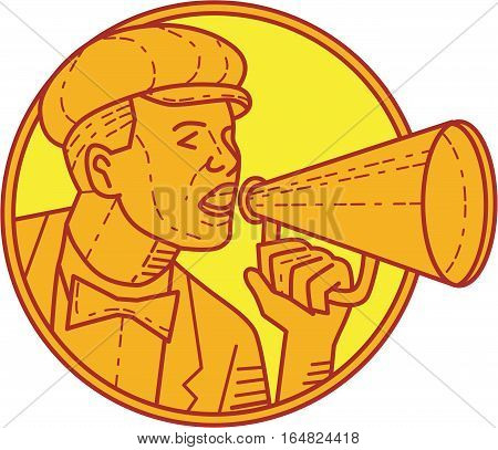 Mono line style illustration of a vintage movie director cameraman shouting using megaphone viewed from the side set inside circle on isolated background.