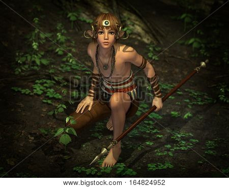 3d computer graphics of a male elf on hunting with a spear