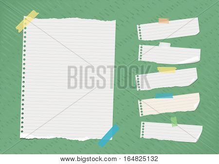 Ripped white ruled note, notebook, copybook paper sheets stuck on bright green lined pattern.