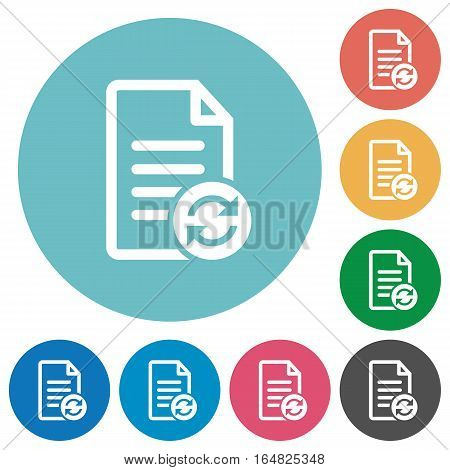 Refresh document flat white icons on round color backgrounds