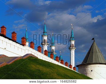 KAZAN REPUBLIC TATARSTAN RUSSIA - JUNE 2016: The walls of the Kazan Kremlin Kul Sharif Mosque