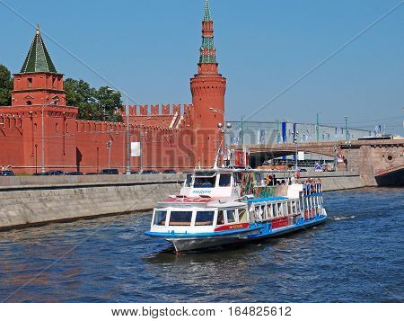 MOSCOW - JULY 2012: River tourism view from the Moscow River on the Moscow Kremlin Kremlin embankment Petrovskaya and Beklemishevskaya Towers Bridge Big Moskvoretsky