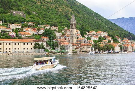 PERAST MONTENEGRO - AUGUST 6 2014: View of Perast city from sea side. Perast is town on coast of Montenegro and located on the Bay of Kotor.