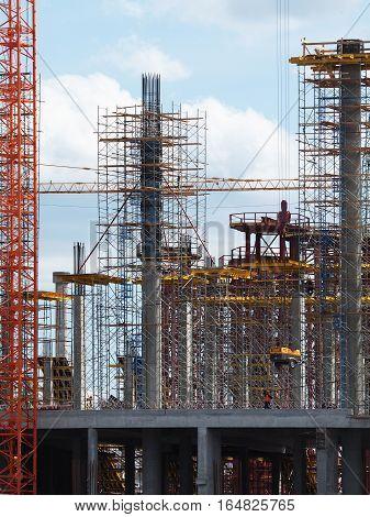 NIZHNY NOVGOROD RUSSIA - JUNE 2016 Construction of the stadium at Strelka in Nizhny Novgorod. Football facility for the World Cup 2018 in Russia.