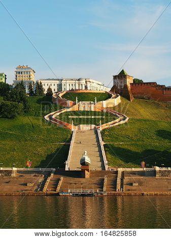 NIZHNY NOVGOROD RUSSIA - JUNE 2016: The attractions the city of Nizhny Novgorod - Chkalov stairs (560 steps) connecting the two embankments a monument to Chkalov the boat