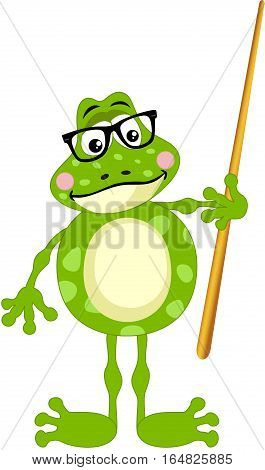 Scalable vectorial image representing a cute frog teacher, isolated on white.