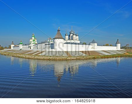 MAKARIEVO NIZHNY NOVGOROD RUSSIA - 24 SEPTEMBER 2015: Holy Trinity Monastery Makarievsky Zheltovodsky. View of a female Orthodox monastery from the Volga River early morning
