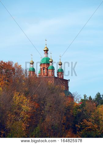 SARAPUL UDMURT REPUBLIC RUSSIA - 15 SEPTEMBER 2015: Church of St. Nicholas of Myra city of Sarapul. Autumn view from the Kama River