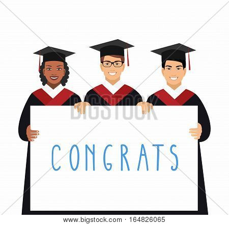 a group of happy graduates student shows blank billboard isolated on white background