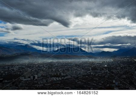 A cold day on top of the Bastille in Grenoble