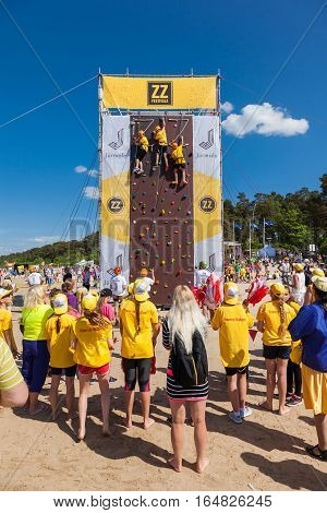 Jurmala, Latvia - 28-may-2016: Children Climbing Competition At Zz Festival, Celebrating Of Opening