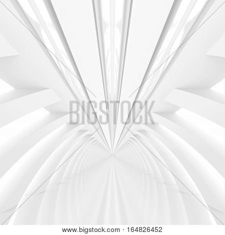 Black and white futuristic architecture background. Abstract architectural interior of the future. 3D rendering.