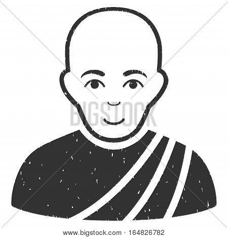 Buddhist Monk grainy textured icon for overlay watermark stamps. Flat symbol with dirty texture. Dotted vector gray ink rubber seal stamp with grunge design on a white background.