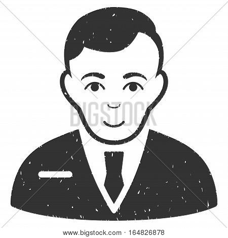 Businessman grainy textured icon for overlay watermark stamps. Flat symbol with scratched texture. Dotted vector gray ink rubber seal stamp with grunge design on a white background.