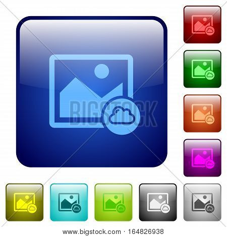 Cloud image icons in rounded square color glossy button set