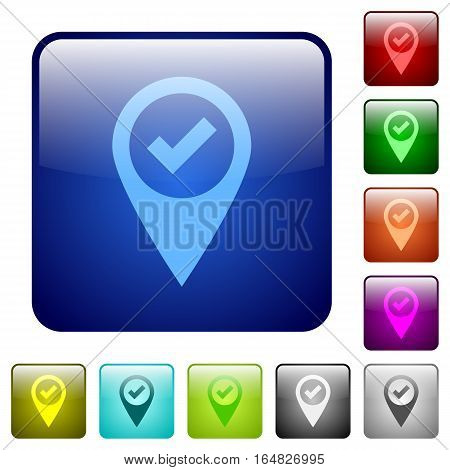 GPS map location ok icons in rounded square color glossy button set