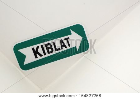 Kiblat Directional Sign in hotel room in Malaysia