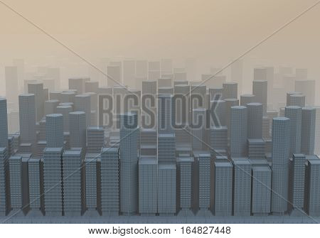 3D Computer graphic image expressing pollution, smog