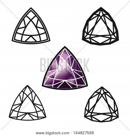 Trillion gemstone cut -diamond set on white background