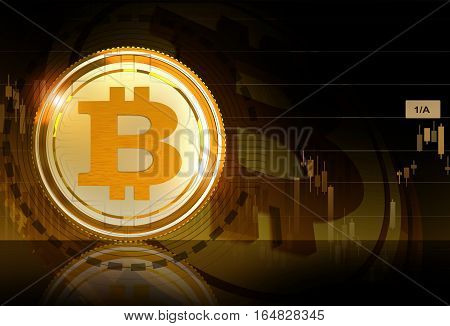 Bitcoin Business Concept Illustration with 3D Rendered Elements. Golden Bitcoin Cryptocurrency.