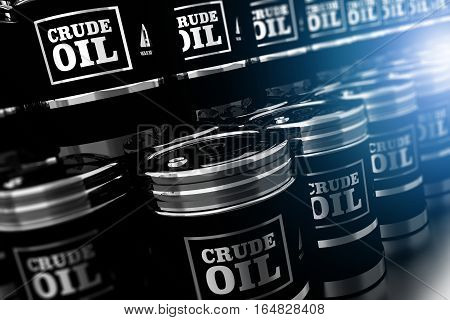Black Oil Barrels 3D Illustration. Silver Metallic Black Crude Oil Barrels Pile.