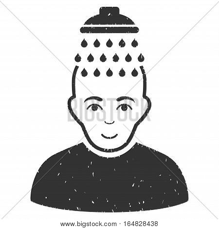 Head Shower grainy textured icon for overlay watermark stamps. Flat symbol with dust texture. Dotted vector gray ink rubber seal stamp with grunge design on a white background.