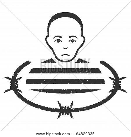 Isolated Prisoner grainy textured icon for overlay watermark stamps. Flat symbol with unclean texture. Dotted vector gray ink rubber seal stamp with grunge design on a white background.
