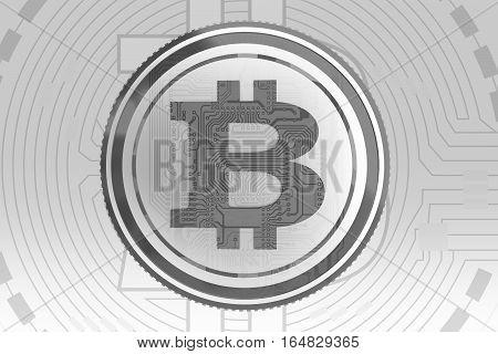 Gray Bitcoin Background Concept. Elegant Conceptual Bitcoin Currency Backdrop.