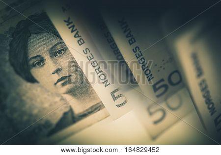 Norway Krone Cash Money. Krone Norwegian Currency Banknotes Closeup