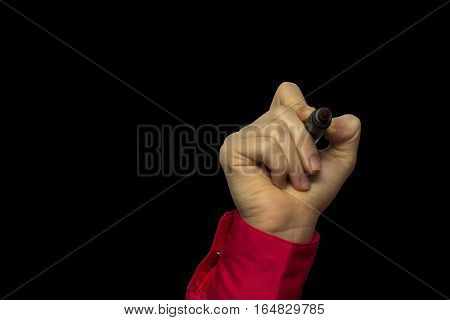 Hand Holding Marker Isolated On Black