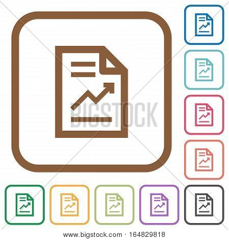 Report with graph simple icons in color rounded square frames on white background