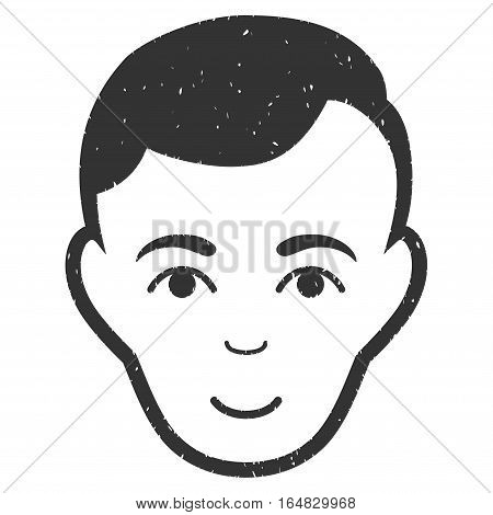 Man Face grainy textured icon for overlay watermark stamps. Flat symbol with scratched texture. Dotted vector gray ink rubber seal stamp with grunge design on a white background.
