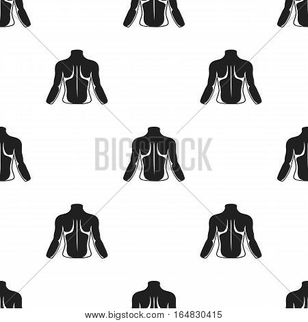 Human back icon in black style isolated on white background. Part of body pattern vector illustration.