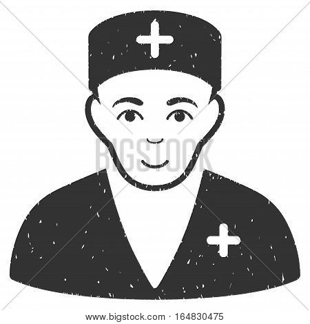 Medic grainy textured icon for overlay watermark stamps. Flat symbol with scratched texture. Dotted vector gray ink rubber seal stamp with grunge design on a white background.