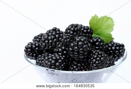 Fresh ripe blackberry isolated on white background