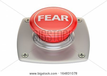 Fear Red Button 3D rendering isolated on white background