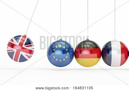 Great Britain EU Germany France political relation concept. 3D rendering isolated on white background