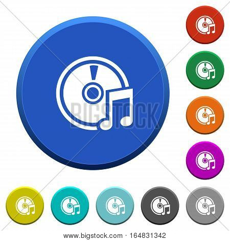 Audio CD round color beveled buttons with smooth surfaces and flat white icons