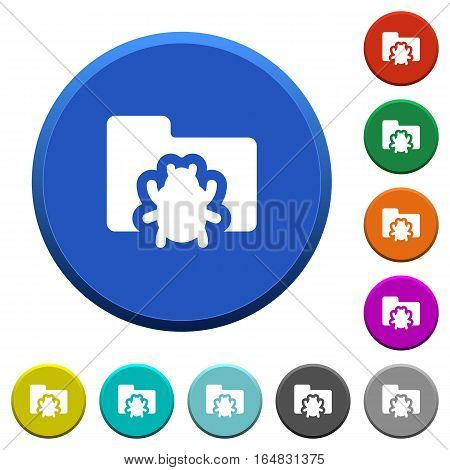 Bug folder round color beveled buttons with smooth surfaces and flat white icons
