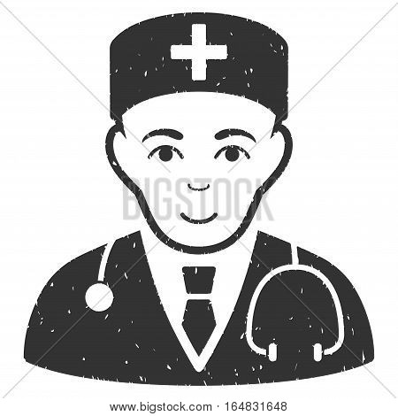 Physician grainy textured icon for overlay watermark stamps. Flat symbol with unclean texture. Dotted vector gray ink rubber seal stamp with grunge design on a white background.