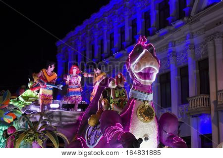 SAN JOSE, COSTA RICA - December 18: Christmas parade float based on The Flintstones during the Festival of Light Parade whichl is part of Christmas and holiday season Festivities in Costa Rica. December 18, 2016 in San Jose